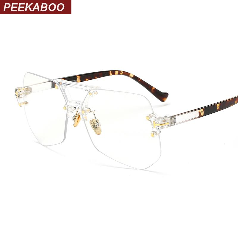 Peekaboo fashion clear transparent glasses frames for women men 2019 male spectacle frames rimless irregular SH190919