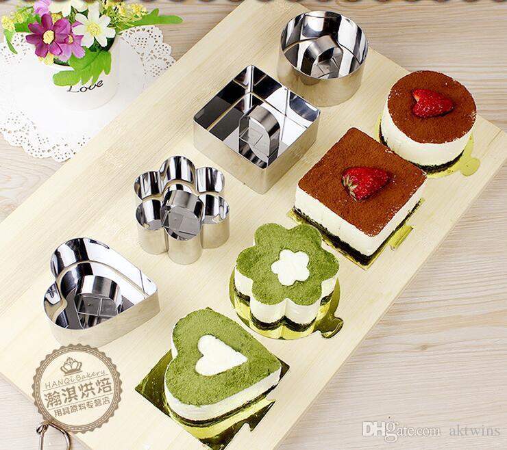 ميني موس كعكة قالب غير القابل للصدأ مربع الصلب جولة الخبز قوالب على شكل قلب كعكة موس قالب موس حلقة مطبخ أدوات LXL1147