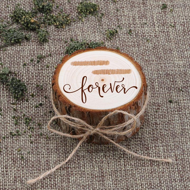Box anel personalizado casamento personalizado Engagement Valentines portador de anel de madeira Caixa de madeira de casamento
