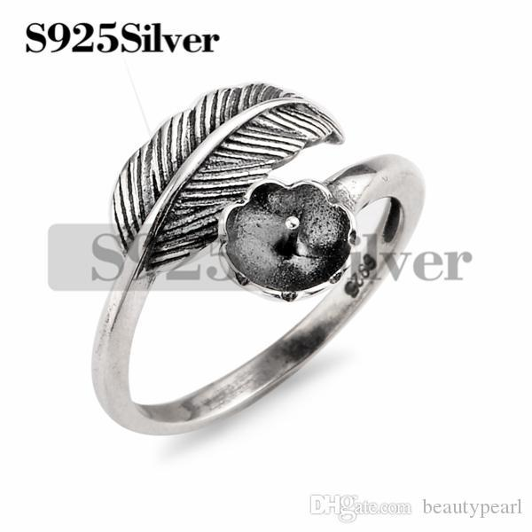 5 Pieces Vintage Design Feather Ring Findings 925 Sterling Silver DIY Jewelry Making Ring Blank Base
