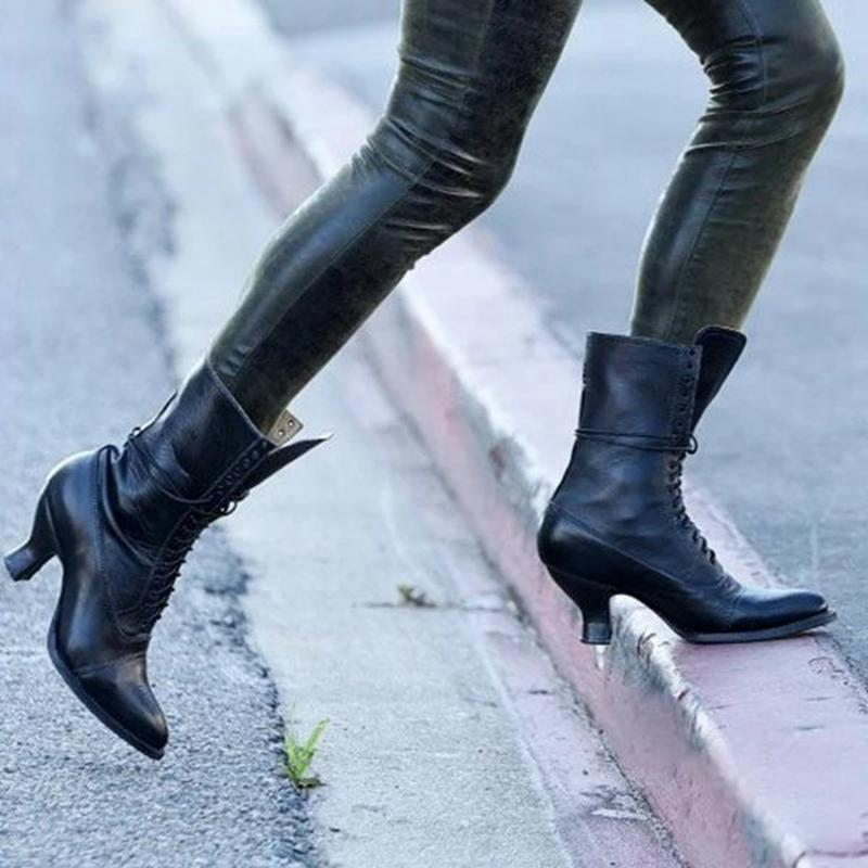 Blue Womens Low Heel Lace Up Ankle Fashion Fall Combat Boots