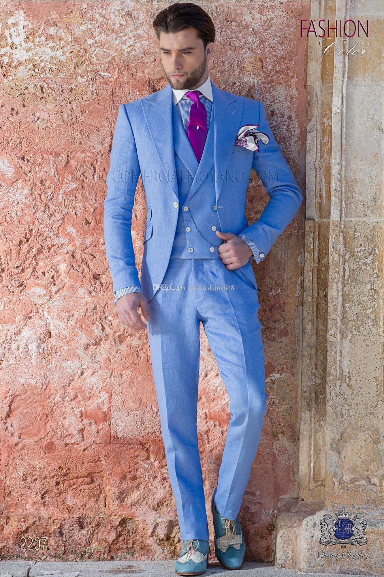 Yeni Bir Düğme Groomsmen Tepe Yaka Düğün Damat smokin Erkekler Suits Düğün / Gelinlik / Akşam Sağdıç Blazer (Ceket + Kravat + Yelek + Pantolon) 688