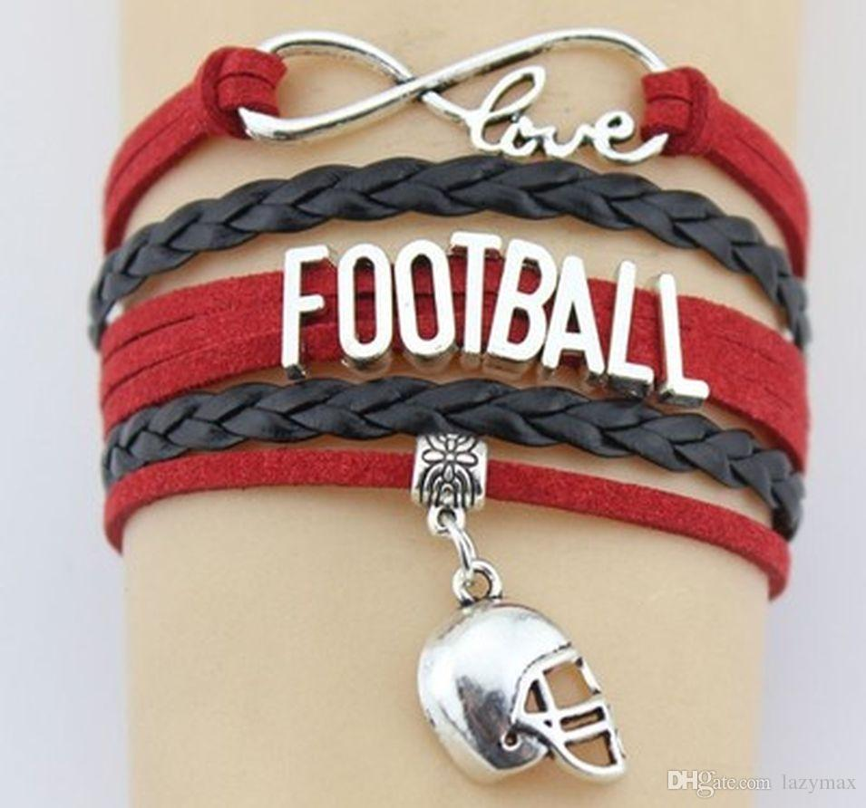 Unisex Alphabet Multiple Bracelet With Pendents Football Player Woven Leather Wristband Couples Anniversary Present 10 Pieces ePacket