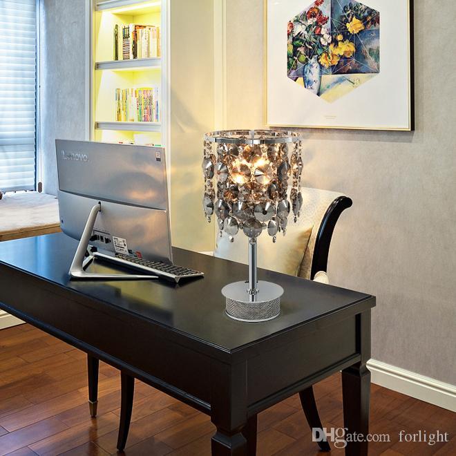 Nouveau design créatif luxe moderne D 26cm x H 45cm table en cristal fumé lampes LED lampe de bureau pour vivre chambre salle d'étude chambre