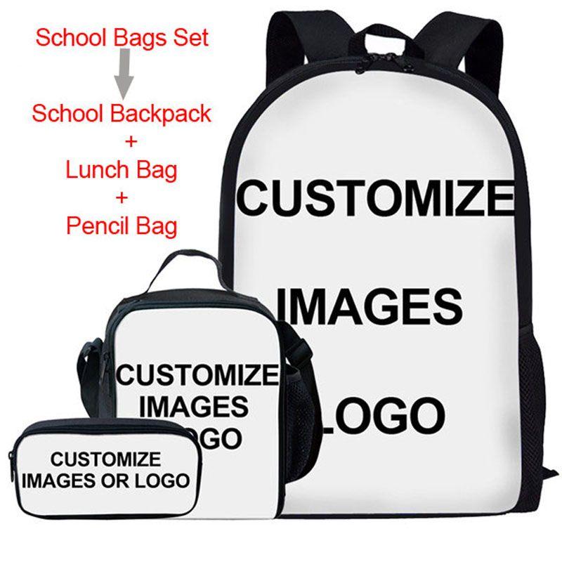 Custom Your Own Design Kids School Bags 3pcs/set Schoolbags for Child Girls Bookbag Leisure Daypacks Lunch Bag Pencil Bag