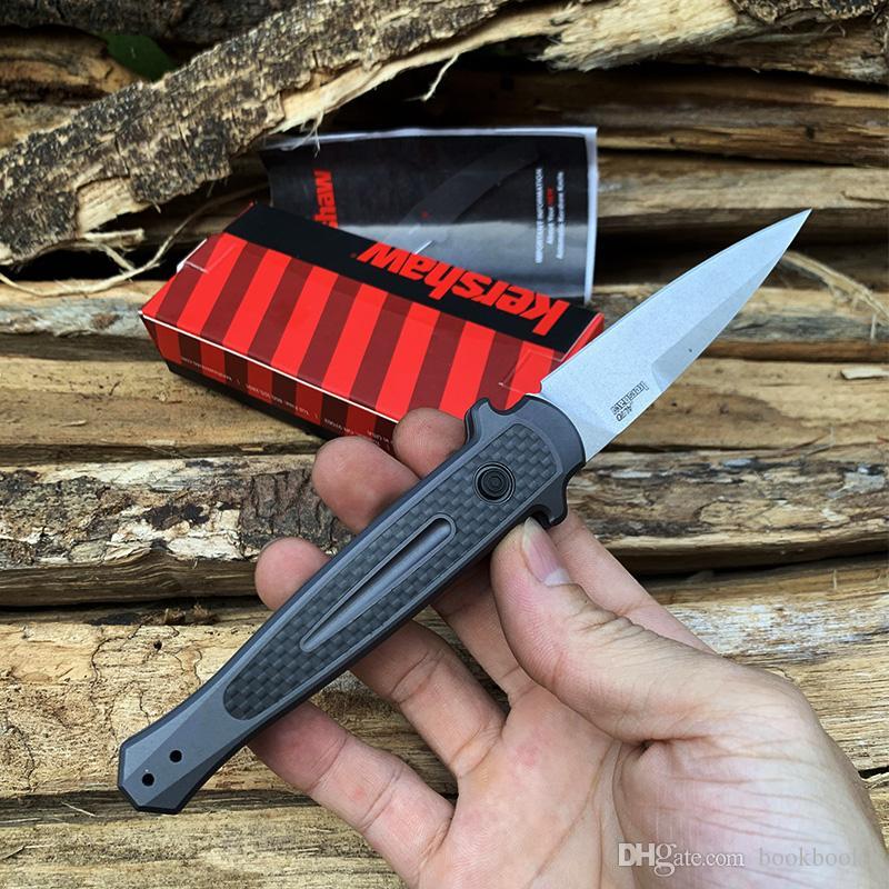 100% OEM Kershaw 7150 automatique Couteau tactique CPM154 Lame en alliage d'aluminium de l'aviation + fibre de carbone extérieure chasse Couteaux EDC