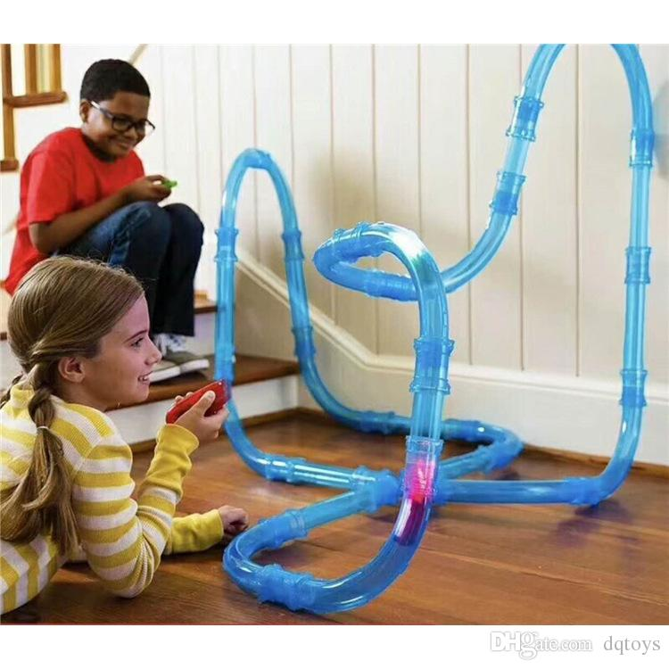 DIY Kid Pipe Toy Racing Magic Set Remote Control Speed Pipes Track Car Trucks LED Flash Light Vehicle Building Tube Railway Gift