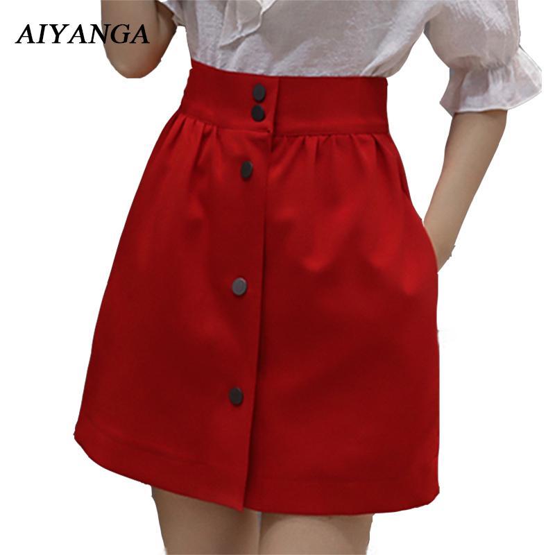Hohe Taille A-linie Röcke Frauen Elegante Büro Frauen Sommer 2018 Schlanke Feste Weiße Röcke Rote Kurze Röcke Einreiher Y19071501