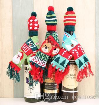 Bottiglia di Buon Natale Babbo Natale vino supporto del vino di copertura pendenti a goccia addobbi natalizi Borse di Natale decorazione per la casa Noel