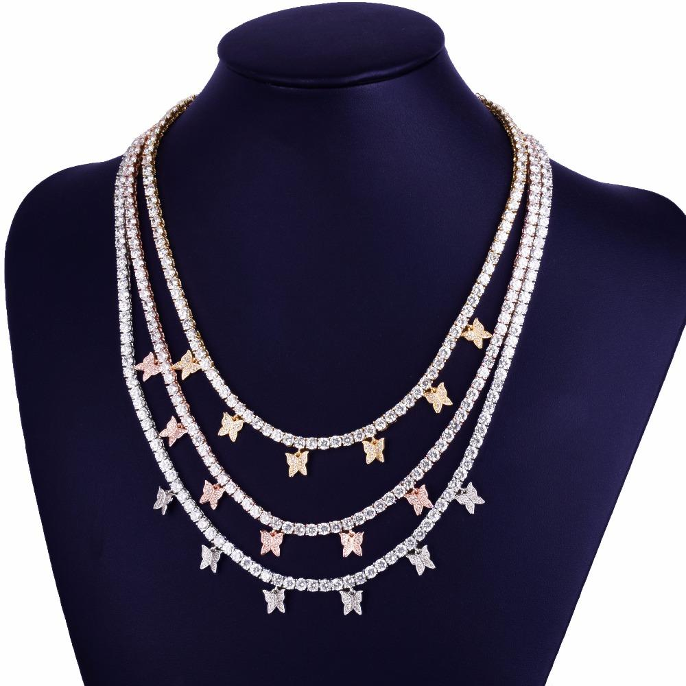 Iced Out CZ Butterfly With Tennis Chain Necklace Hip Hop Jewelry RoseGold Silver Color Men Women Link adjustable
