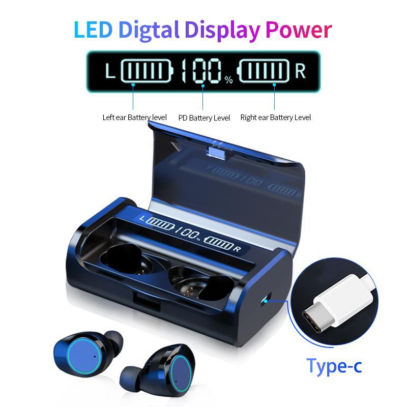 G06 AAC LED Power Wireless Display Bluetooth Stereo 5.0 fone de ouvido TWS 3D cancelamento de ruído Toque Earbuds Com 4000mAh carregamento Box