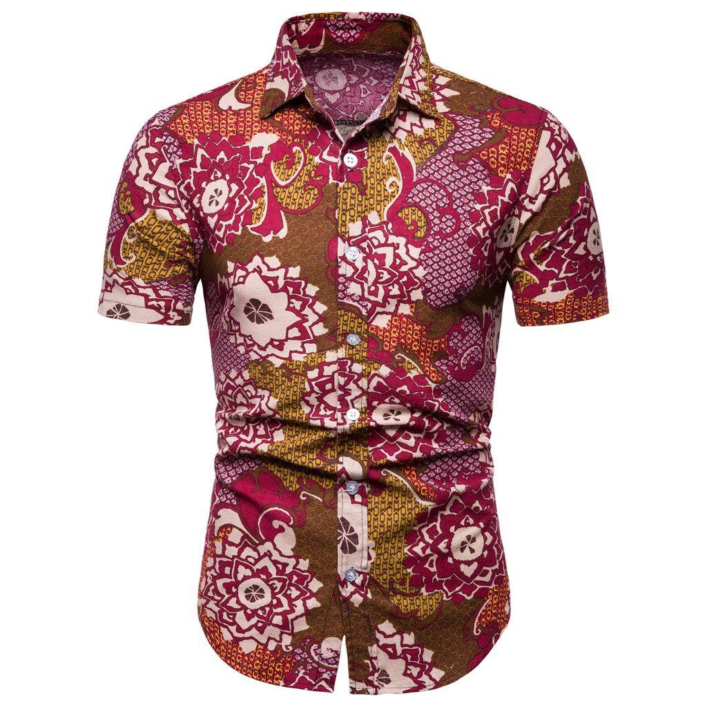 Brand Men Shirt Slim fit Regular 2019 Summer Plus Size Shirt Short Sleeve Rockabilly Gothic Floral Printed Lapel red Clothes