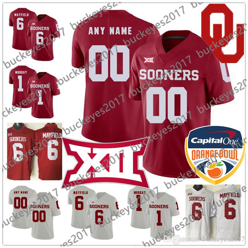 Custom Oklahoma Sooners Red White Any Name Number 2019 New Brand Stitched #6 Baker Mayfield NCAA College Football Jersey S-3XL