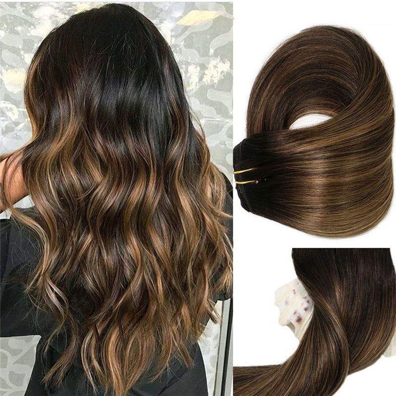 Расширение прямых зажима Бразильские волосы 120 грамм за пакет ombre Balayage Color # 1b исчезновение на # 6 Средний коричневый 100% Real Remy волосы