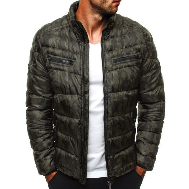 Parkas Jackets Men Zipper Stand Collar 19ss Windbreaker Warm Coats Winter Down Camouflage
