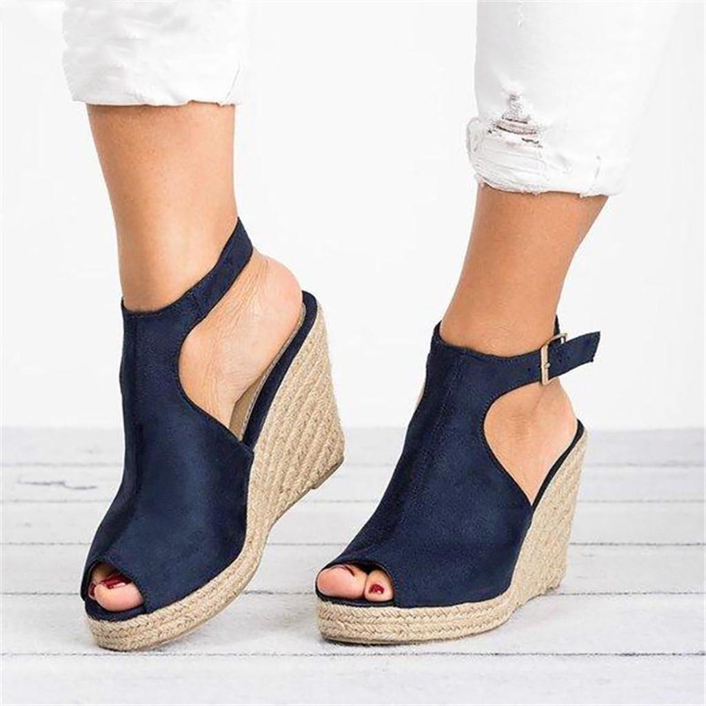 Плюс размер 35-43 платформы сандалии клинья обувь для женщин пятки лета женщин забивают женщин мужской обуви