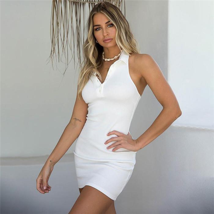 Seksi Elbise Giyim Kadınlar Seksi Backless Yaka Boyun Günlük Elbiseler Yaz Kolsuz İnce Bayan BODYCON Elbiseler