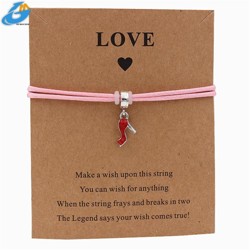 High Heels Charm String Bracelets String Bracelets Jewelry Silver Color Color Alloy for Women Couple Charm Lucky Red Rope Chain