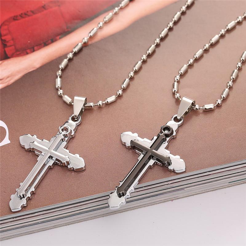 New Cross Pendentif collier pour hommes et femmes Creative mode à deux niveaux Collier Croix Lovers Bijoux Collier Couple
