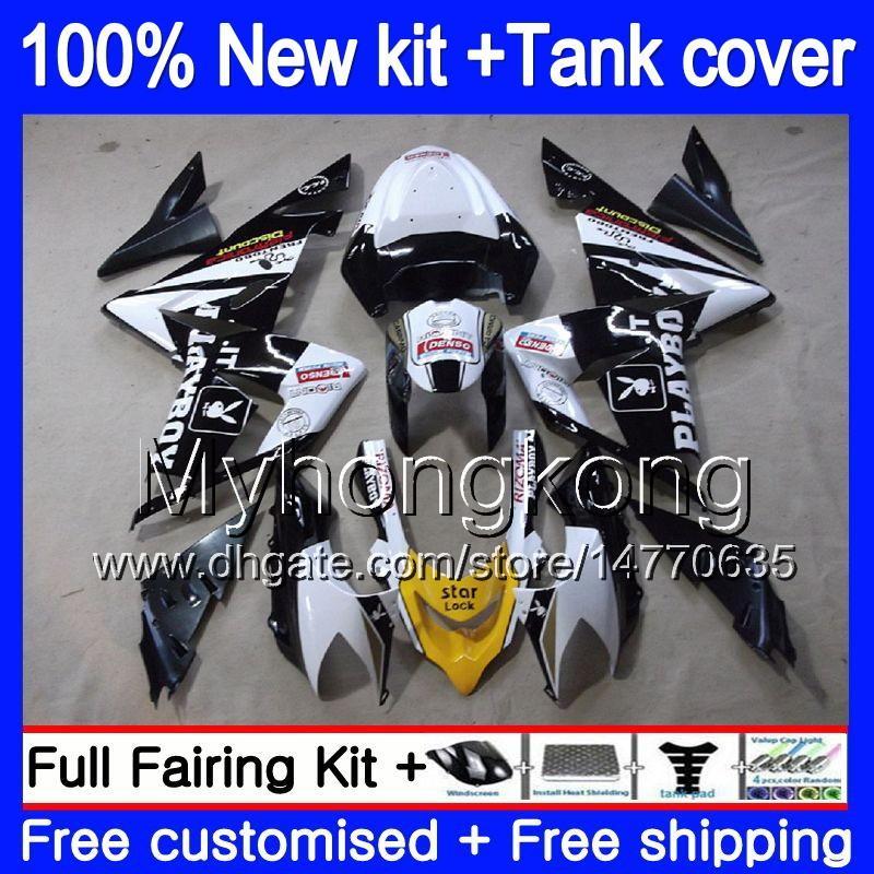Cuerpo + tanque para Kawasaki ZX ZX1000 CC 10 R ZX10R 2004 2005 Blanco Negro Niza 214MY.27 ZX10R 04 05 ZX1000C 1000CC ZX 10R 04 05 ABS carenados
