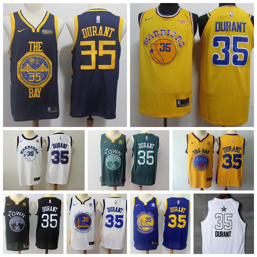 sports shoes 7a33d d36b8 2018 2019 New Mens Golden State Warriors 35 Kevin Durant Basketball Jerseys  Stitched Warriors New City Edition Kevin Durant 35 Jerseys Embroidery From  ...