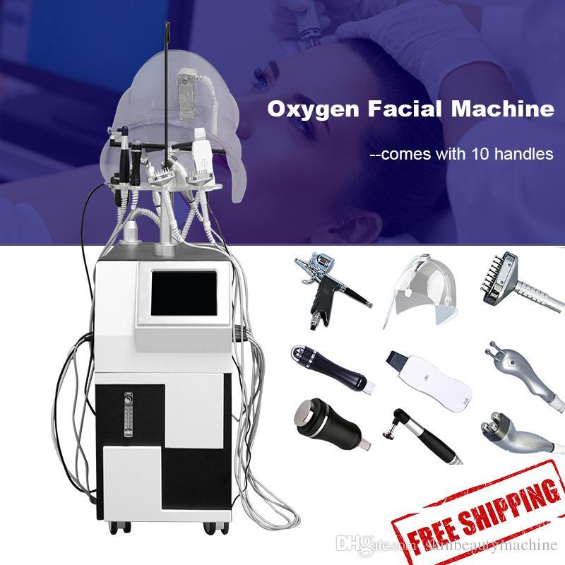 10 dans une machine à oxygène Jet faciale peau de nettoyage de dermabrasion BIO Face Lift machine à ultrasons hydra matériel facial