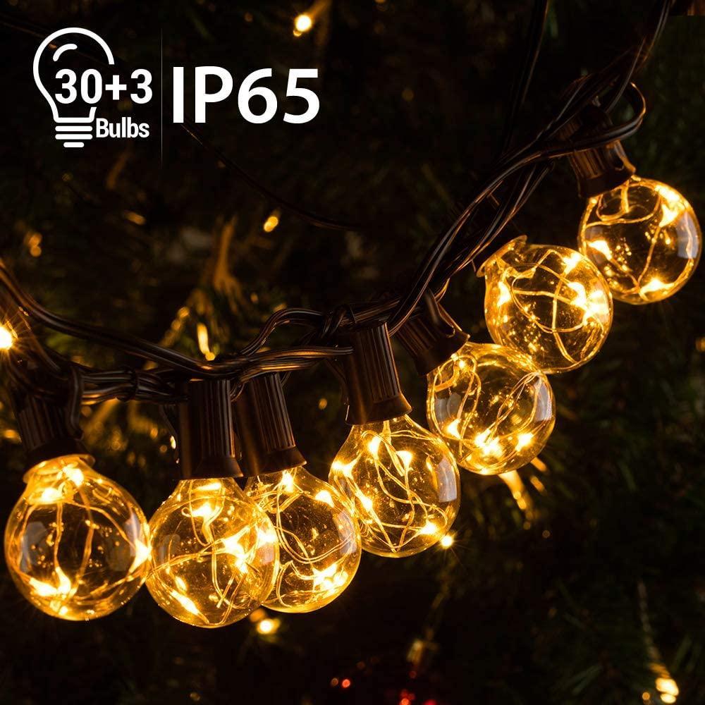 IP65 Водонепроницаемый Открытый LED гирлянд 30 + 11,7 3 G40 лампы 155 светодиодов Патио гирлянд для Backyard Бистро Пергола Tree Party Deco