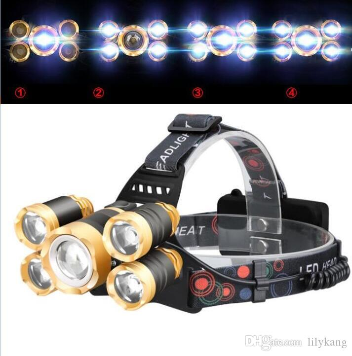 5 LED Headlight 16000 Lumens Cree XM-L T6 Head Lamp High Power Headlamp camp hike fishing emergency headlamps+18650 Batteries+Charger