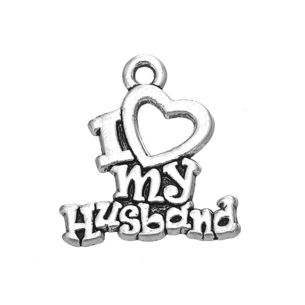 Сердце письмо мотаться ювелирные изделия Я люблю своего мужа двухсторонние слова Шарм для браслет аксессуары DIY ювелирных изделий