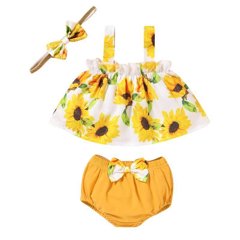 Yaz Ayçiçeği 3 adet Set Yenidoğan bebek kız Çiçek yelek Fırfırlı tops + sevimli Yay şort pantolon Moda Giyim kıyafetler Sarı Set