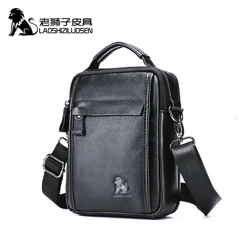 LAOSHIZI nouveaux hommes en cuir véritable légumes sac à bandoulière pour iPad mini-sacs Messenger de haute qualité de sac à main mâle CJ191115