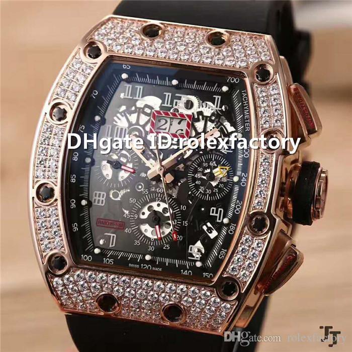 2019 New Luxury 011 Часы автоматические механические сапфировое стекло розовое золото Алмазный Корпус Skeleton Циферблат натуральный резиновый ремешок Мужские часы