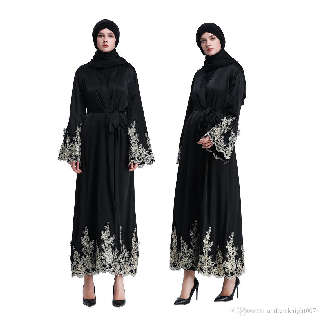 Женщины элегантный золото вышивка кружева мусульманский черное платье Исламский Абая кардиган платье платья DK736MZ