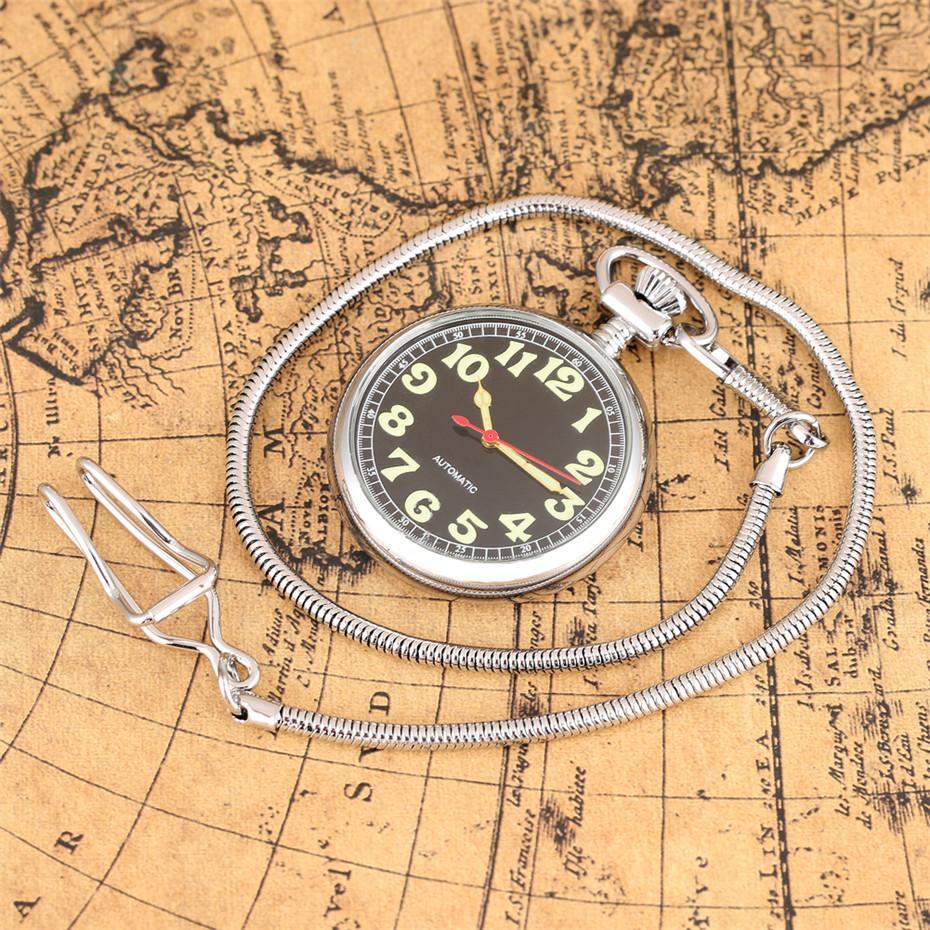 Retro Pocket Pendant Horloge lumineuse Affichage mécanique arabe Numerals remontage automatique montre de poche avec 30 cm Argent Fob chaîne T200502