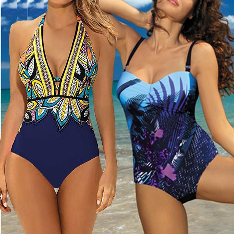 2019 tiefe V-Bikini-Badeanzug Frauen Bademode Monokini Weinlese-Druck-Badeanzug Halter Bodysuit Plus Size Bademode