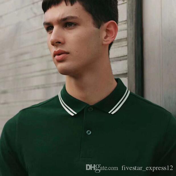 Inglaterra Hombres Polos Solid Hoja rayas rojas Doble con punta de 100% algodón de manga corta Polos Londres Tenis Tees Camisetas Negro Blanco Verde