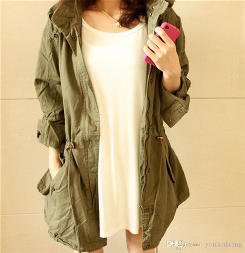 Женщины ветровка с капюшоном Outwear длинных траншей случайного свободным длинных рукава пальто твердой casaco женственными уличной одеждой верхнего покрытием верхней одежды