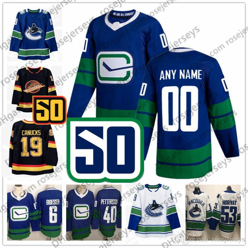 Custom Vancouver Canucks 2019 50th Qualquer número Nome 57 Tyler Myers 79 Micheal Ferland Boeser Pettersson Horvat Azul Terceiro Branco Black Jersey