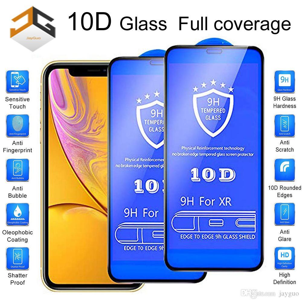 100шт 10D Полное покрытие экрана протектор для iPhone XR XS XS MAX 6 7 8 PLUS 11 11 про макс экрана 9Н углеродного волокна Protector закаленное стекло