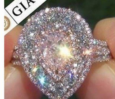 maravilhoso de alta qualidade preço baixo preço de atacado 2 unidades / lotes gotas estilo diamante cristal 925 anel da senhora de prata 6 --- 10 tamanho (10.4 hgty