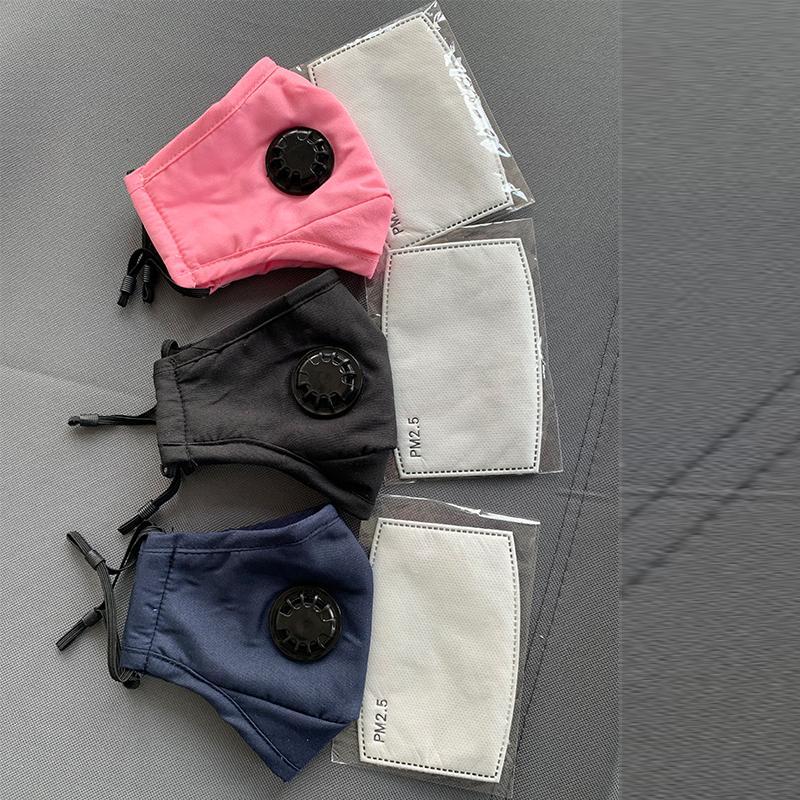 Моющаяся маска для лица против пыли многоразовая голубая черная PM2,5 дыхательный клапан с 1 углеродным фильтром защитные хлопковые дизайнерские маски