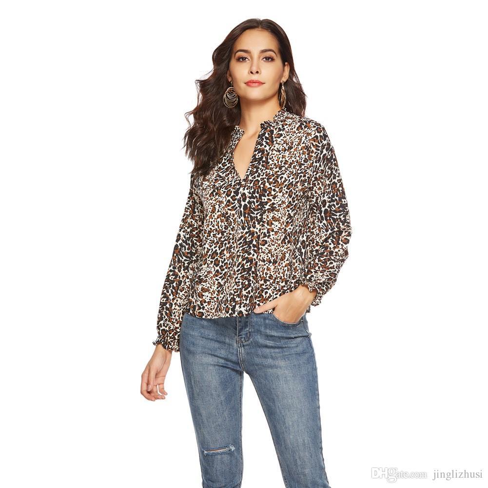 2019 Frühjahr neue europäische und amerikanische V-Ausschnitt Leopard Print Chiffonhemd Holzohr Langarm-Shirt Frauen