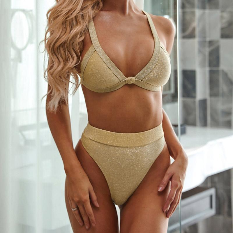Women Sexy Thong Brazilian Biquini Special Material Bikini Set 2020 Summer Swimsuit Golden High Waist Beach Bathing Suit