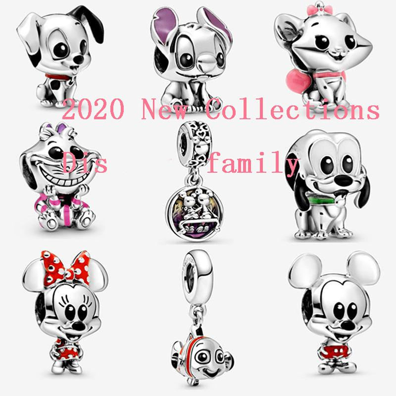 Top Quality Fits Pandora Ale Bracelet Silver Charm dis animal mick família minni Nemos LiloStitch Aristogatas Pendant encantos Jóias com o logotipo