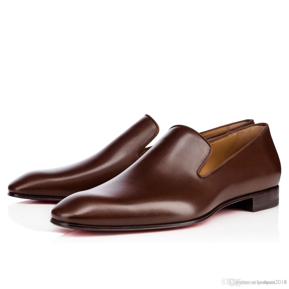 Red Sole Oxford Men Businesss Dress Red Bottom Shoe Dandelion Flat Sophistication Man Dress Shoes Calf Leather Gentleman Wedding
