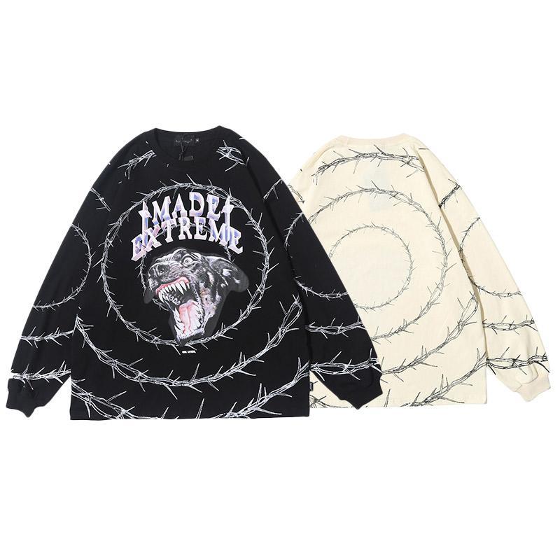 남성 스웨터 나쁜 개 인쇄 후드 풀오버 캐주얼 코지 O 목 하이 스트리트 힙합 스타일 스트리트 탑
