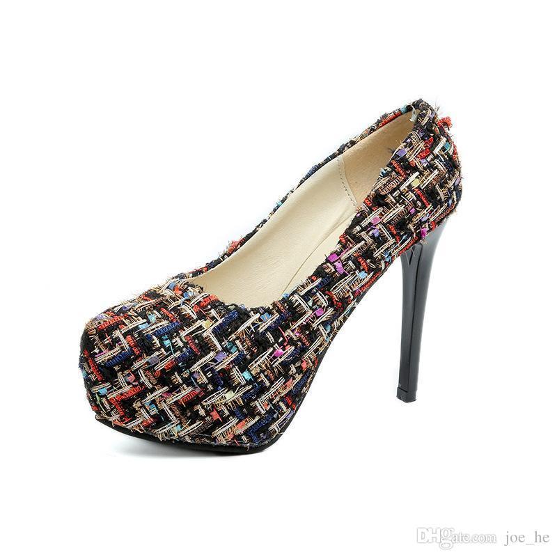 뜨거운 판매 드레스 Lism 하이힐 X1 내지 신발 2019 봄 새로운 패션 방수 플랫폼 증가 꽃 여성 신발