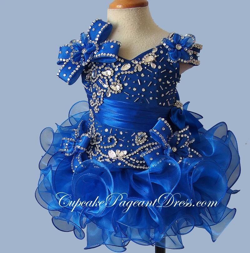 Glitz Crystal Corste Petite fille Cupcake Pageant Robes 2020 Nouveau Royal Blue Courte Cascades Cascades Cascades Organza Flower Gelling