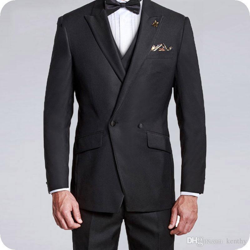 Italiano Preto 2019 Homens Ternos Abotoamento noivo do casamento do smoking Groomsmen Suit Man Blazer 3piece mais recente projeto Partido Evening Homme Costume