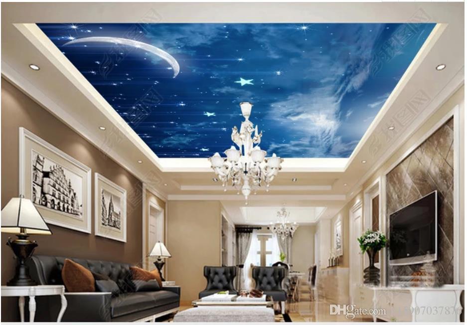 Индивидуальные большие 3D фото обои 3D потолочные фрески обои красивые звездная Луна гостиная Зенит потолок росписи papel де parede